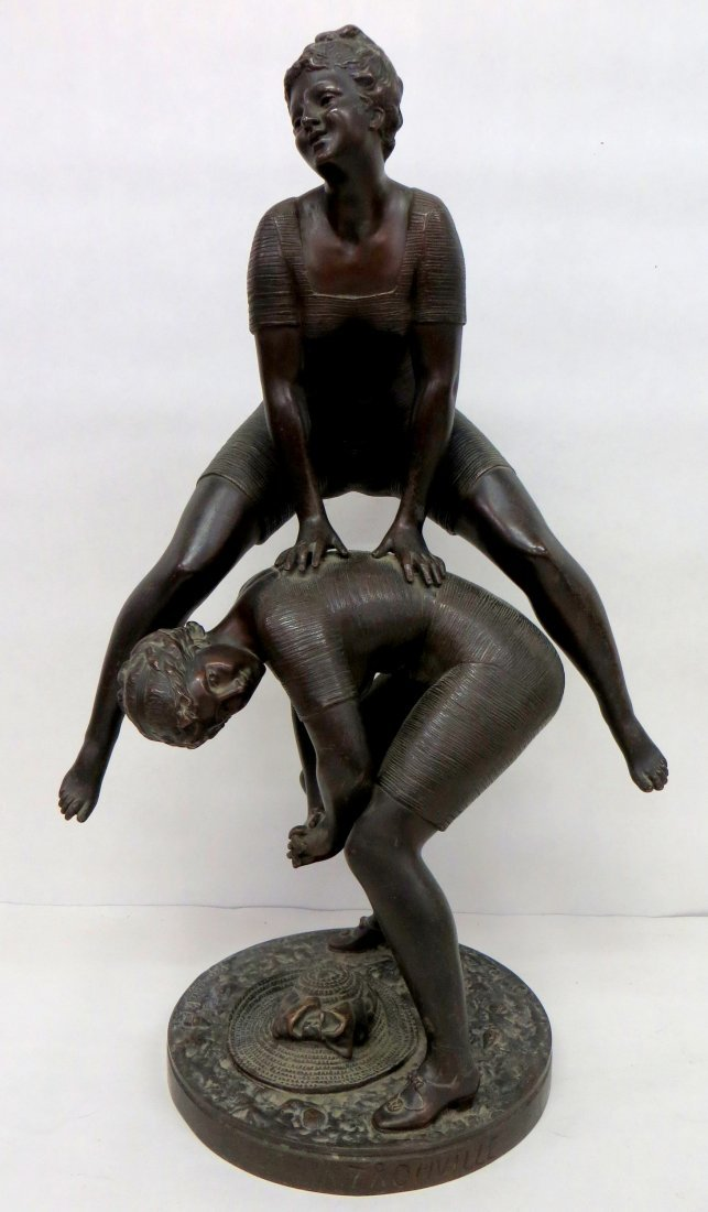 Signed Rancoulet large bronze sculpture of leap-frog la