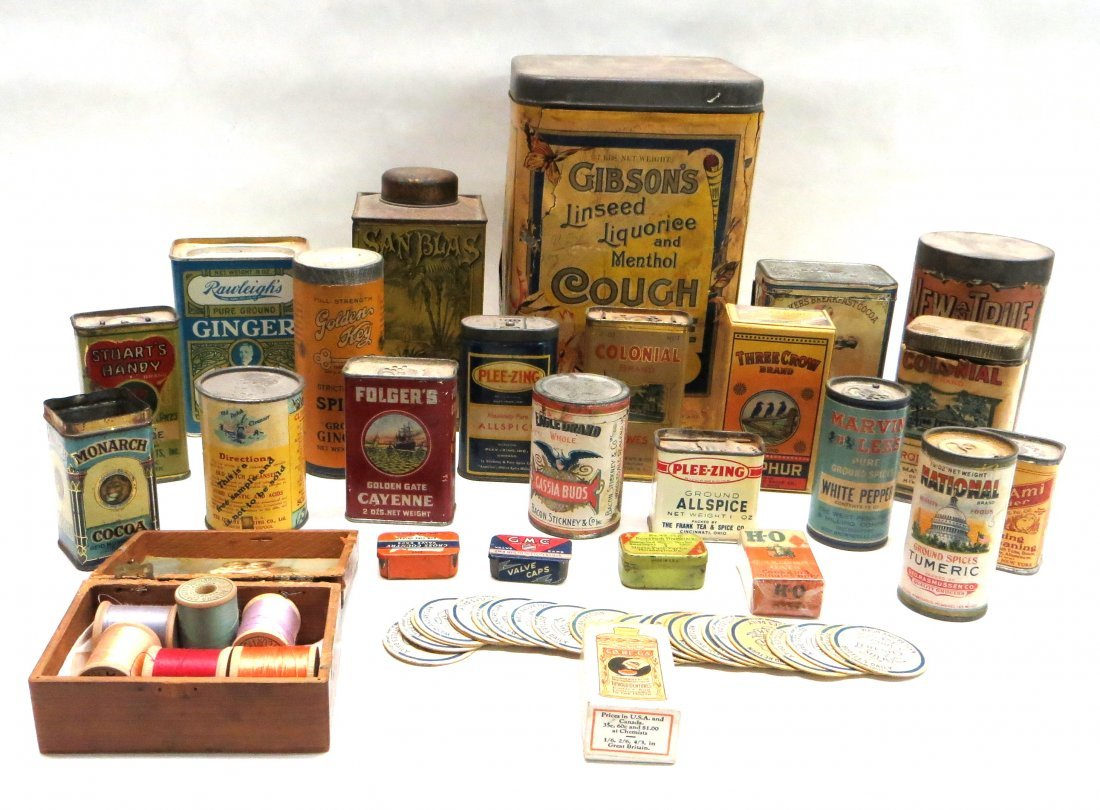 Large lot of advertising tins and spice boxes including