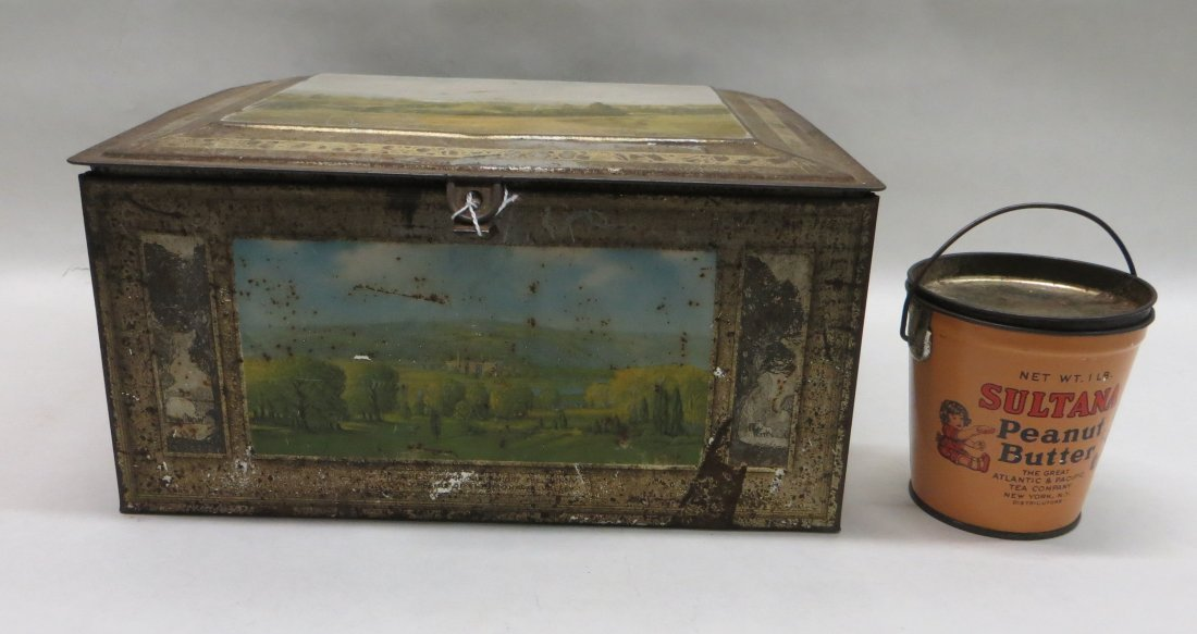 Lot of two tin lithographed containers including a lidd