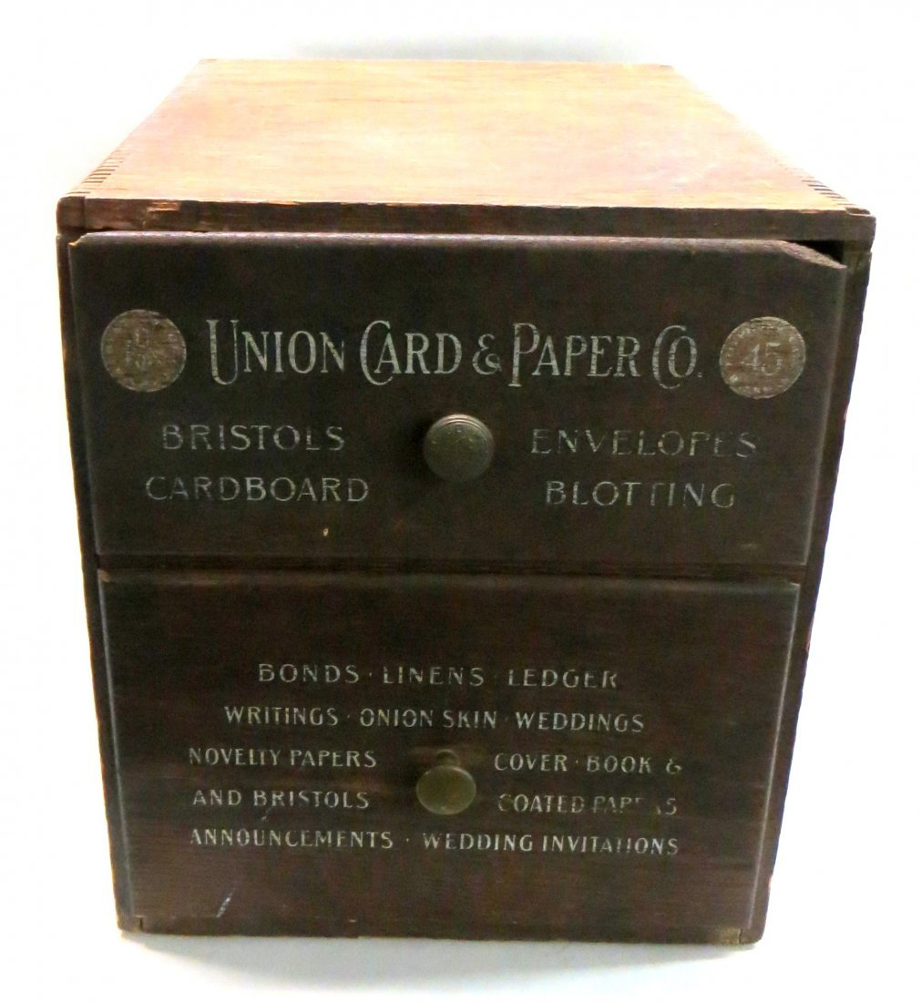 Two drawer Union Card and Paper Co. oak counter top cab