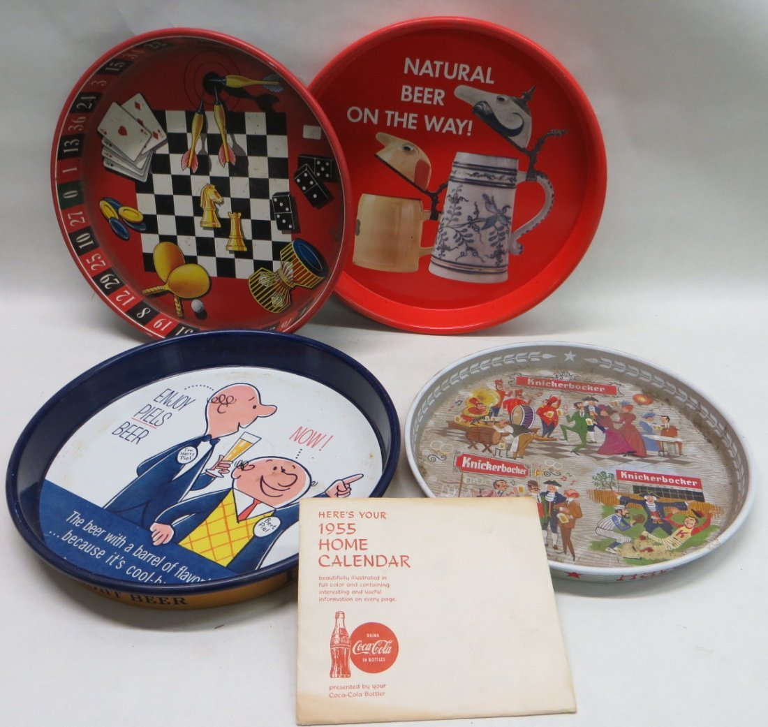 Five advertising items including Coca-Cola 1955 home ca