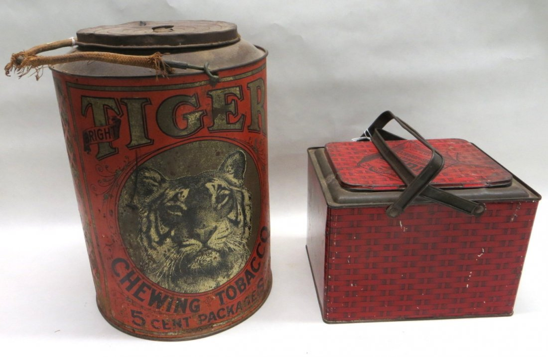 "Two Tiger chewing tobacco tins, one cylindrical 12"" the"
