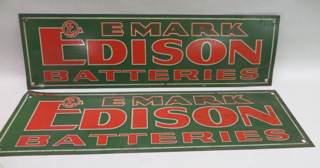 Lot of two EMARK Edison Batteries tin signs. Provenance