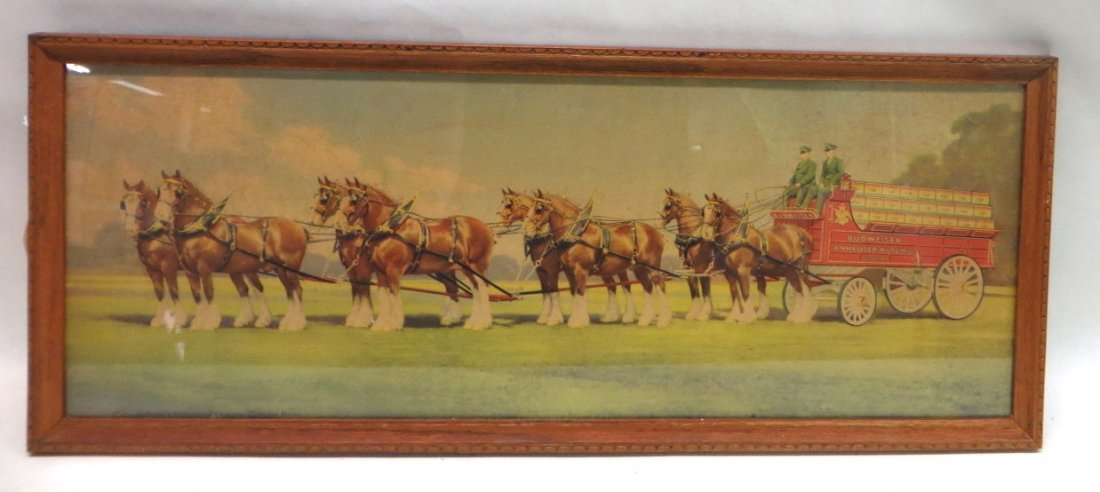 Framed Budweiser's Clydesdales Advertising print entitl