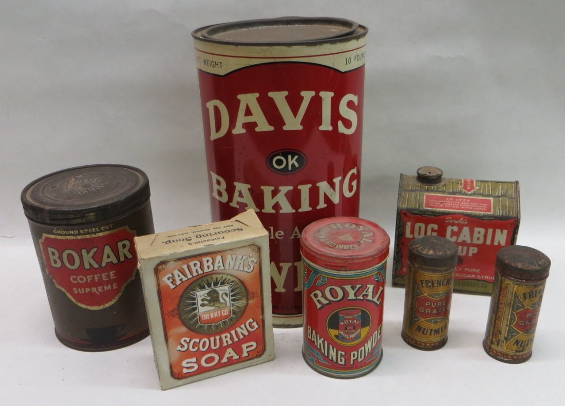 Lot of six advertising tins including Log Cabin Syrup,