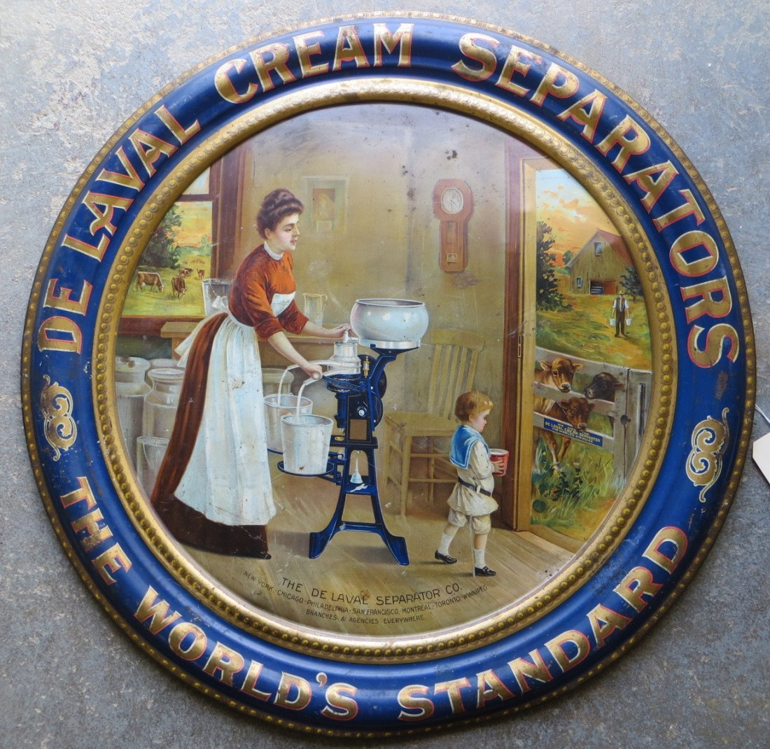 "Large round lithograph tin advertising sign for ""DELAVA"