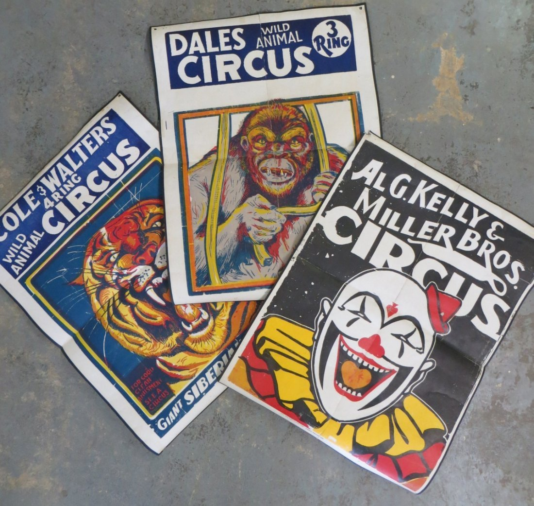 Three old lithographed circus posters - paper on canvas