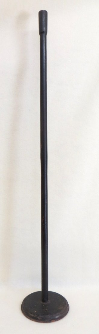"Early wooden floor standing candle holder - 42""H. Proba"
