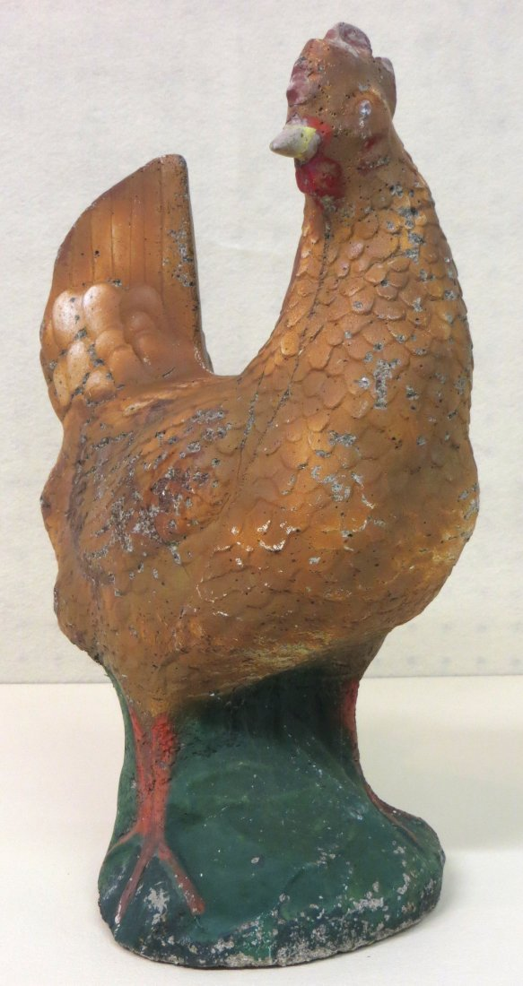 Old concrete chicken lawn ornament in original paint -