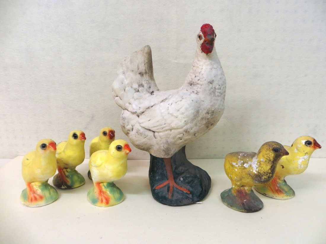 Old concrete white chicken with 6 chalkware chicks - or