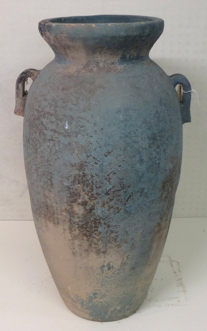 Large earthenware double handle urn/planter in old gree