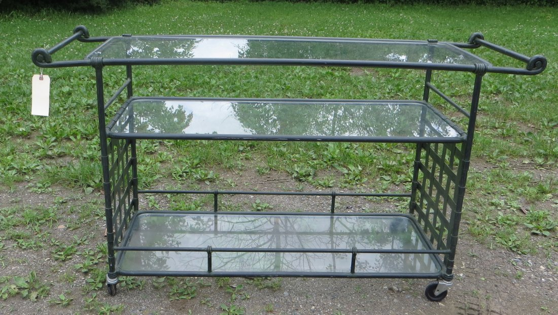 Newer Florentine serving cart with 3 glass shelves, pai