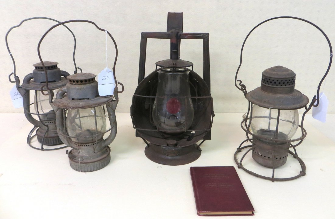 Lot of 4 Railroad lanterns including Erie RR, NYNHNH, B