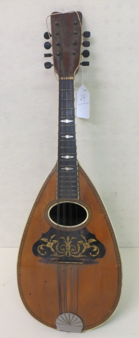 Old mandolin with inlaid front - remnants of label - mo