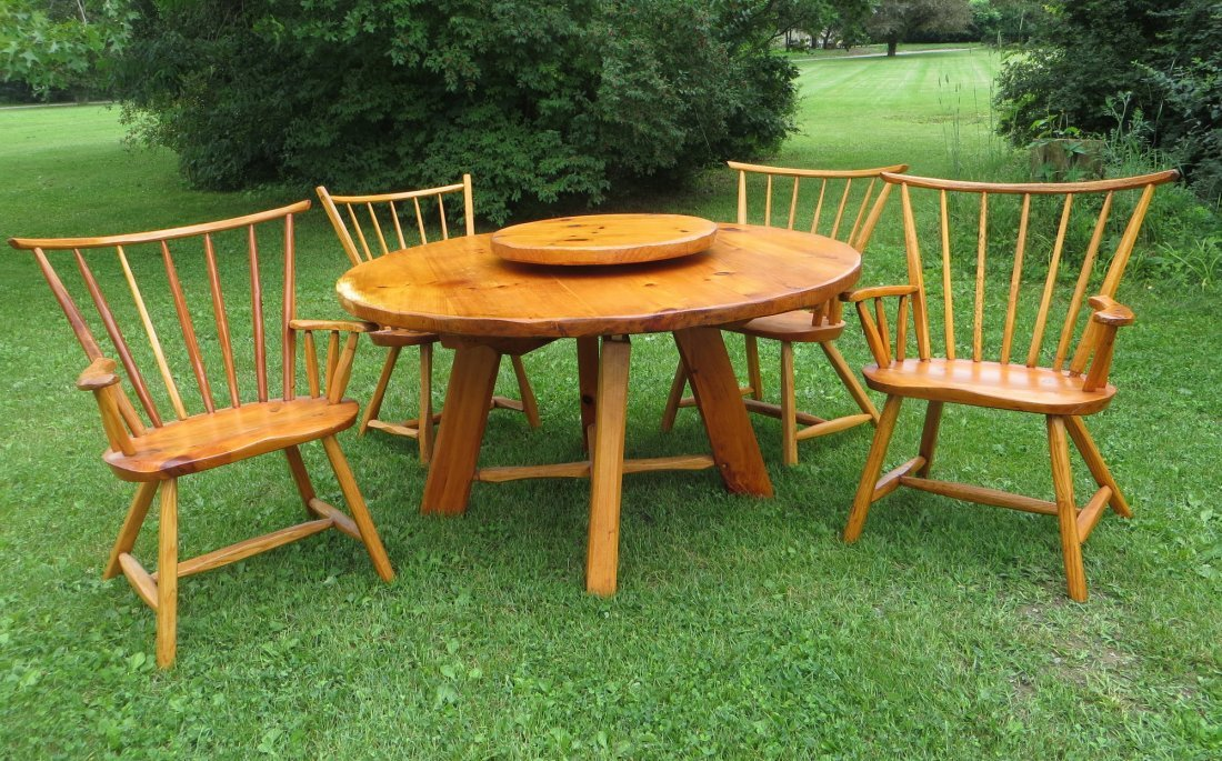 Rustic Hunt Country Furniture round pine table with laz