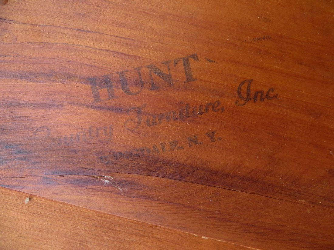 Rustic Hunt Country Furniture round pine table with laz - 2