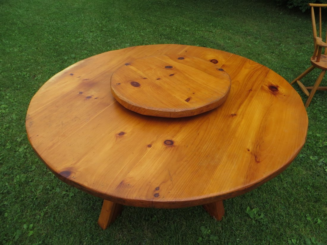 Rustic Hunt Country Furniture round pine table with laz - 3