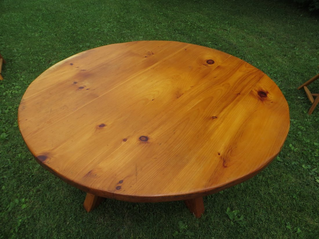 Rustic Hunt Country Furniture round pine table with laz - 4