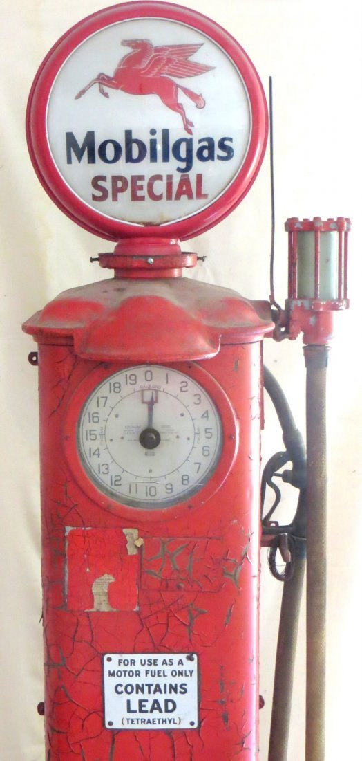 Vintage Mobil clock face gas pump with original globe \