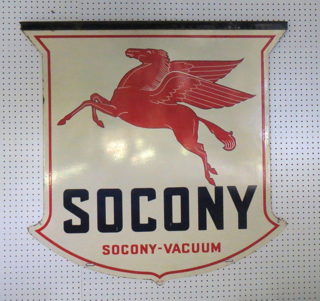 Large enameled double sided shield shaped SOCONY sign w