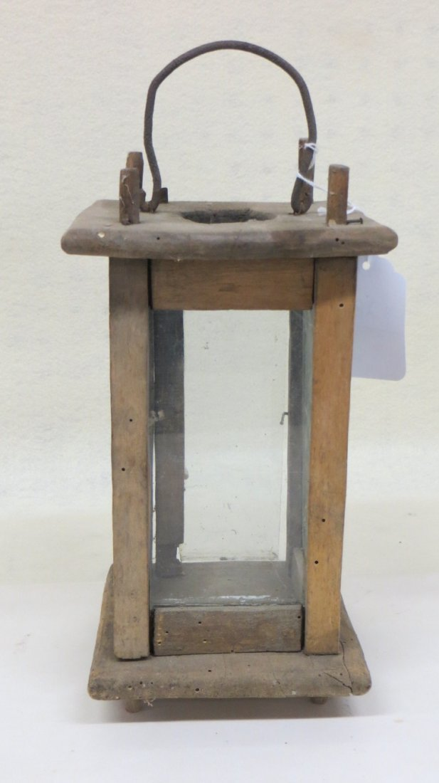 Early wooden candle lantern with 4 glass sides (glass p