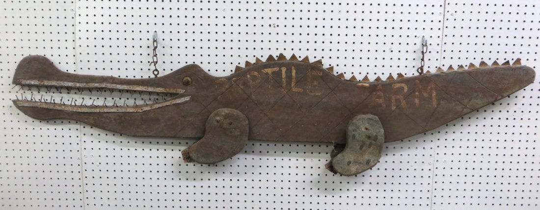 "Folkart sign entitled ""REPTILE FARM"" in the form of an"