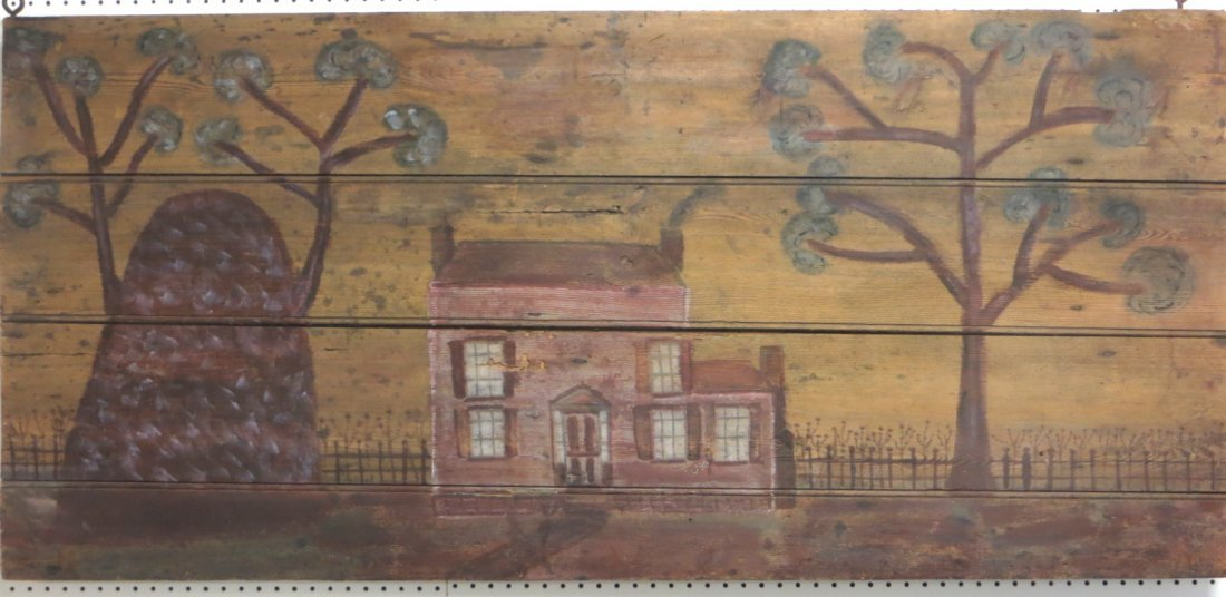 Folk art painting of colonial farmhouse, fence and tree