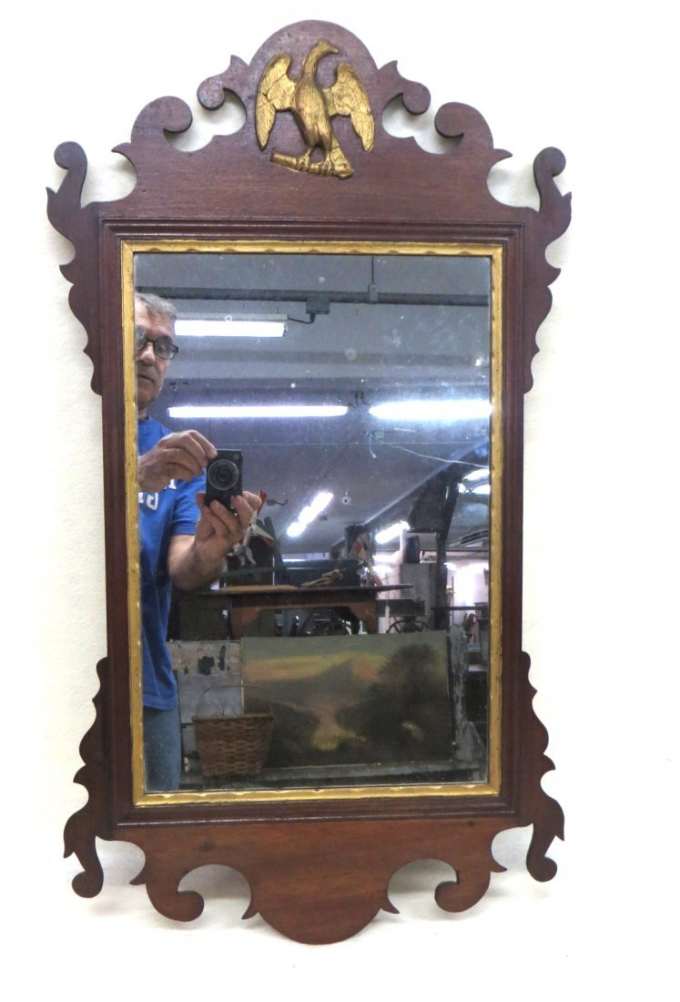 Chippendale mahogany federal wall mirror with Phoenix b