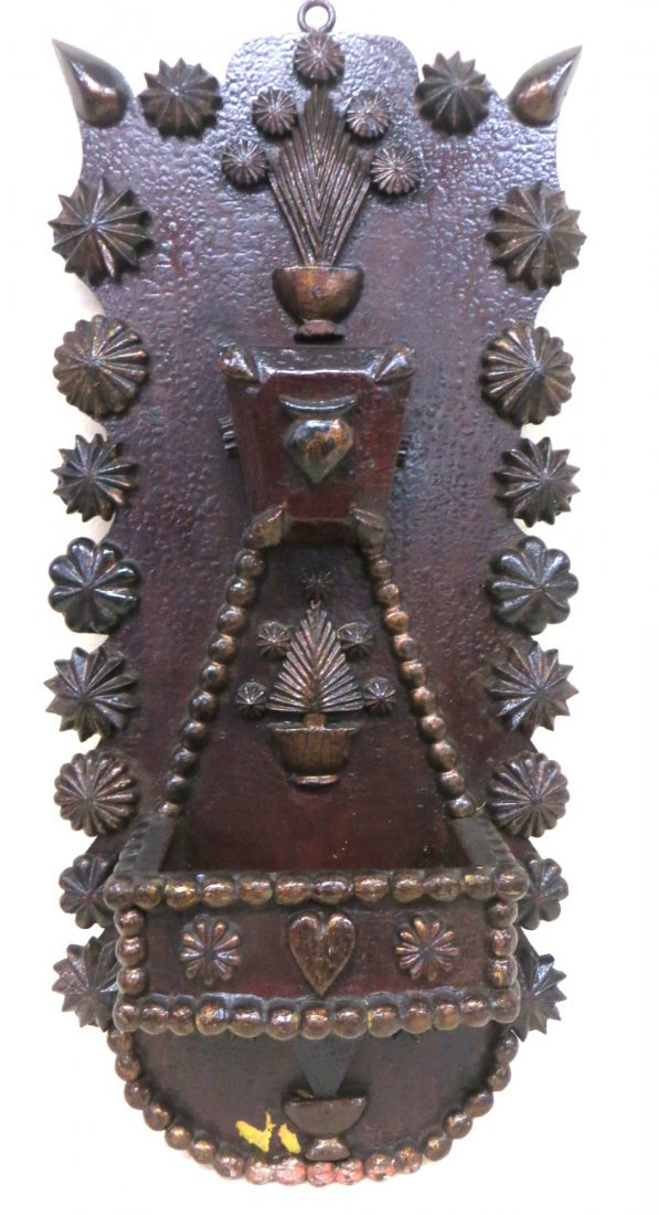 Folk art hand carved wall plaque with pockets, hand dec