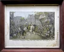 "Hand colored historical lithograph entitled ""Washington"
