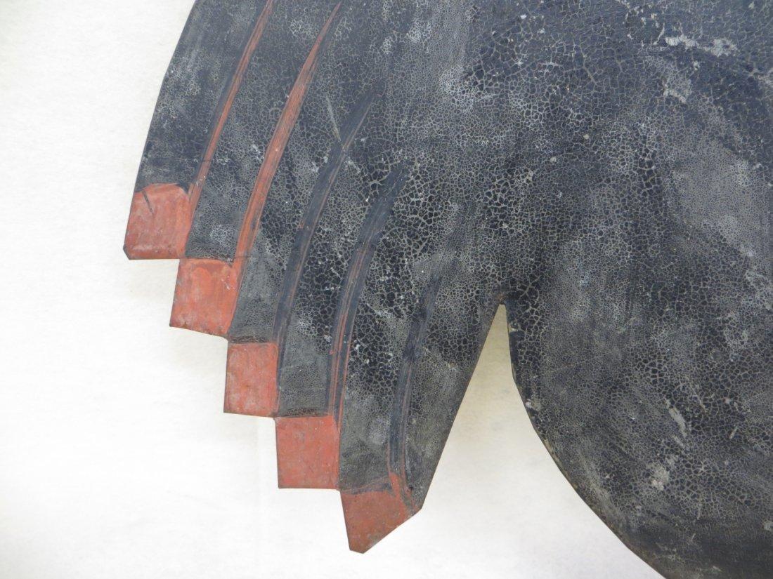 Very fine silhouette sheet metal crowing rooster weathe - 4