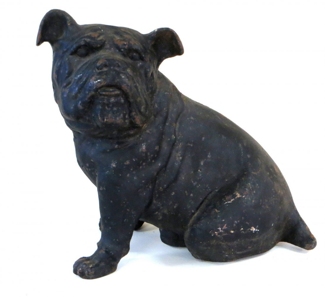 "Large cast iron bull dog door stop 14.25""H. Old finish,"