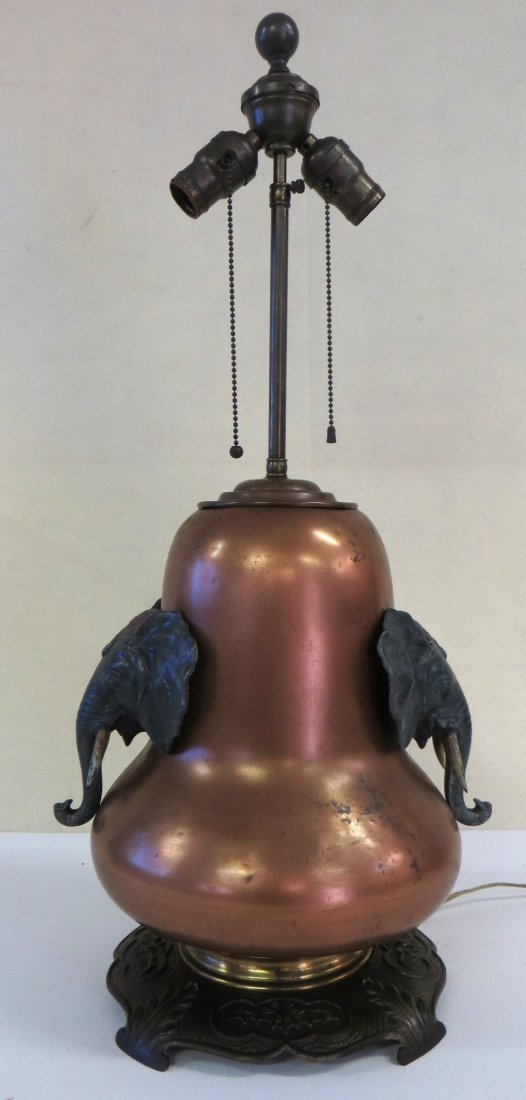 Brass table lamp signed Bradley & Hubbard on base -