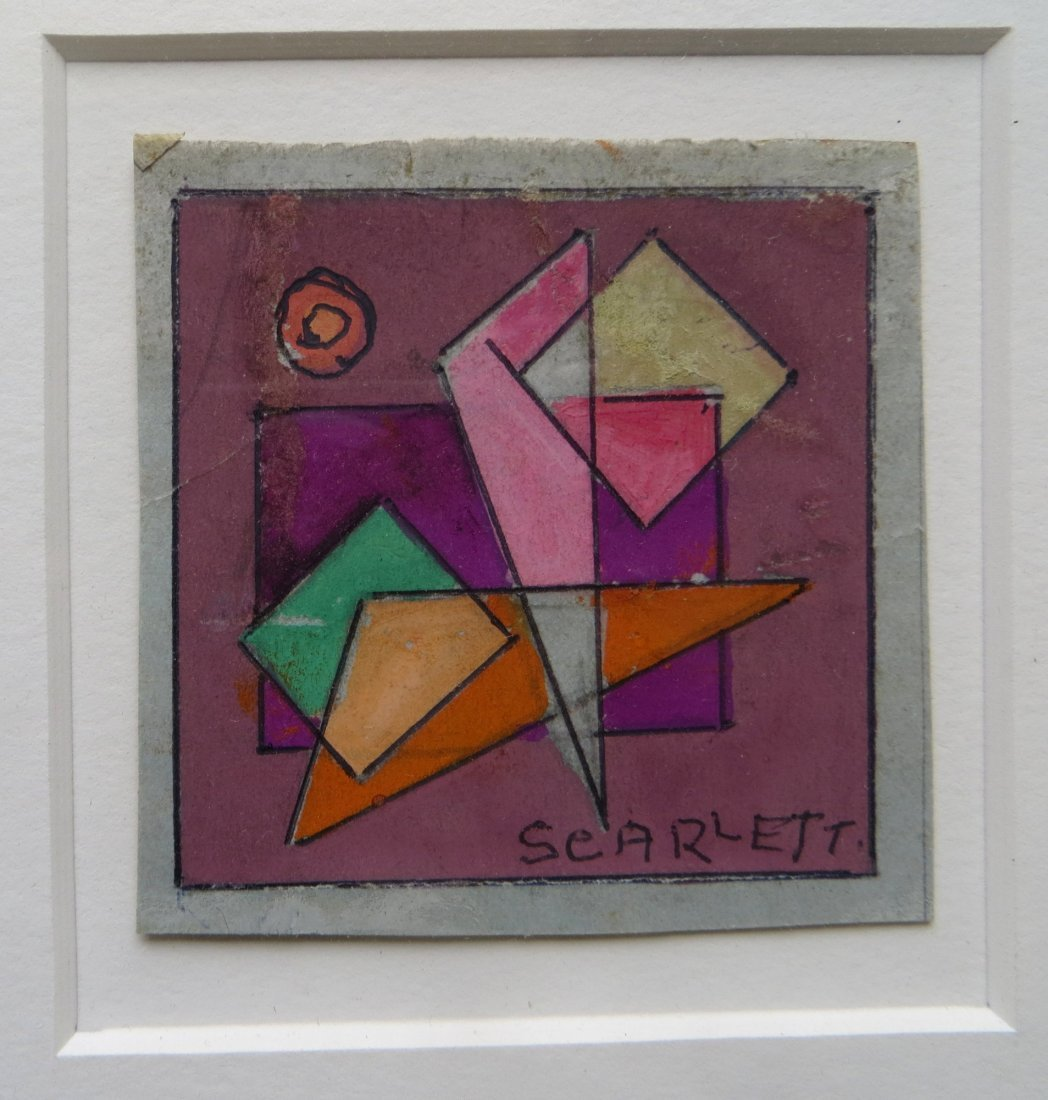 Signed Scarlett miniature geometric water color (Rolph