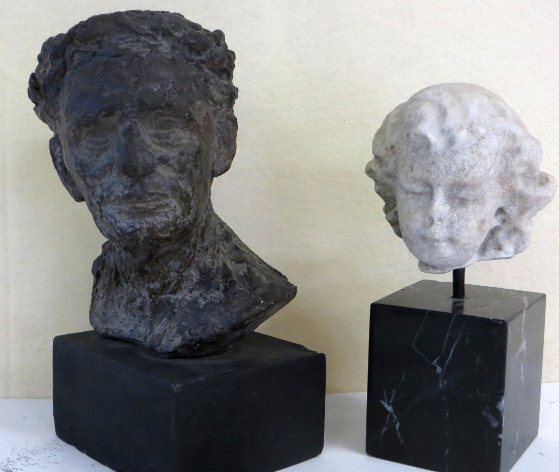 Two small busts including an early marble bust of a