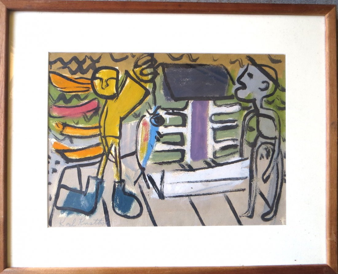 Karl Knaths - Two colorful O/B Abstract scenes with
