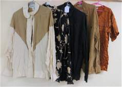 Collection of 5 silk ladys garments including blouse