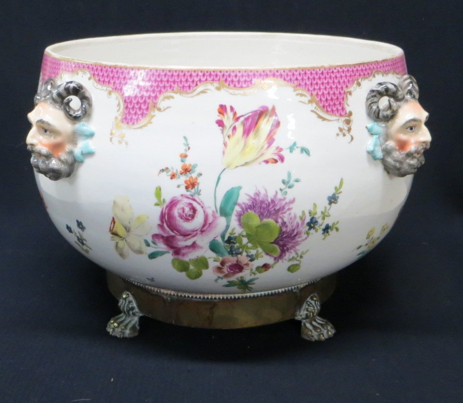 Outstanding porcelain hand painted punch bowl.