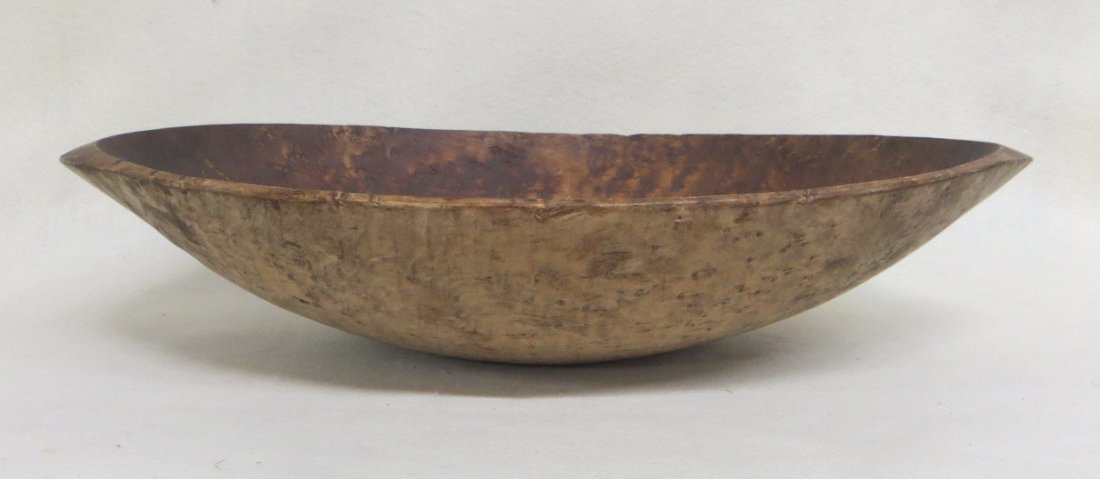 Early birdseye maple treenware oval trencher - all hand