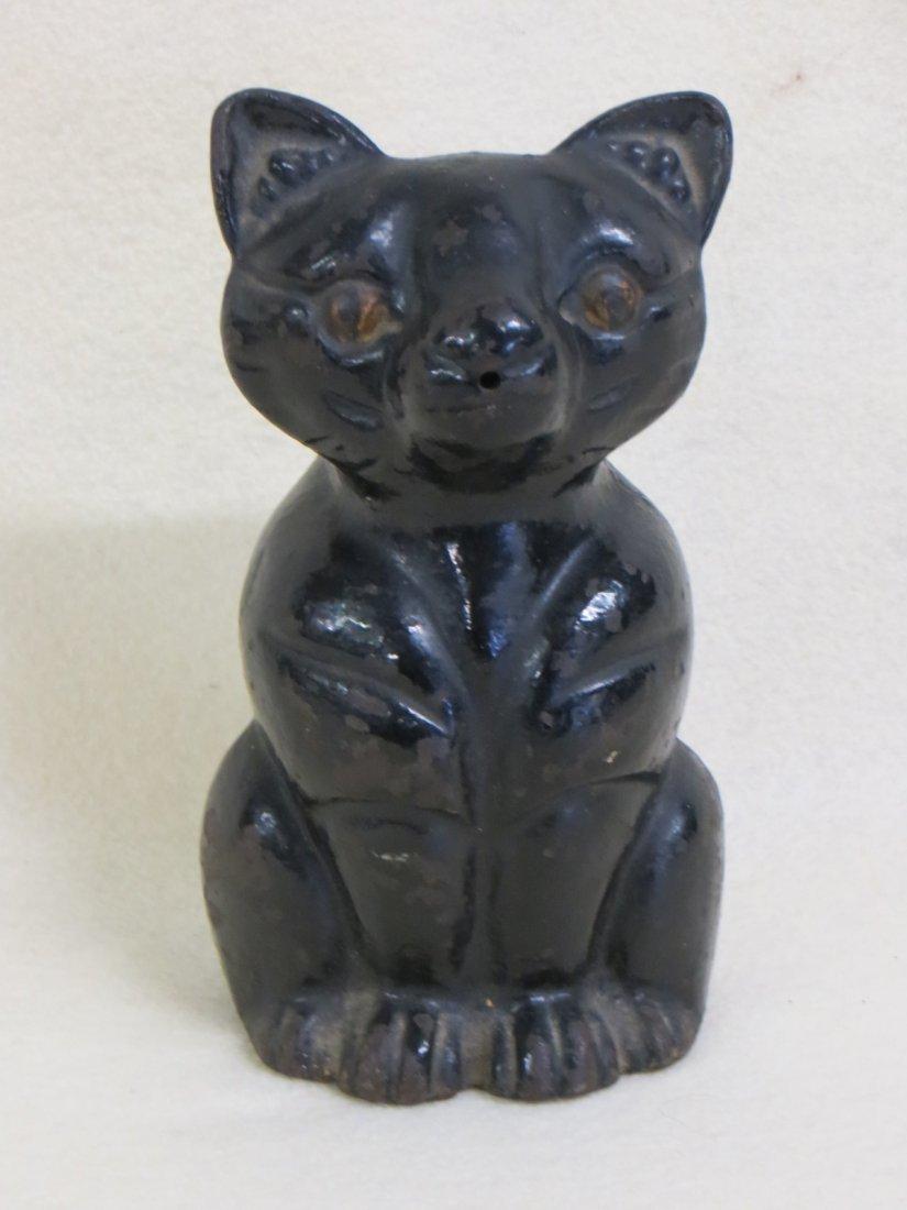 Cast iron cat form string holder in original black