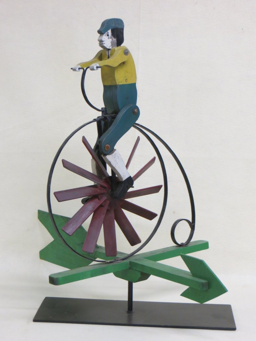 Folk art high wheel bicycle with rider whirligig in