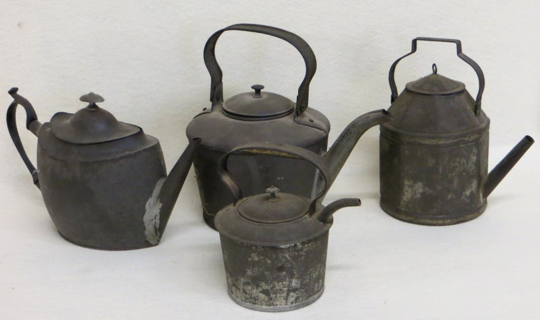 Collection of 4 early tin teapots, all in good