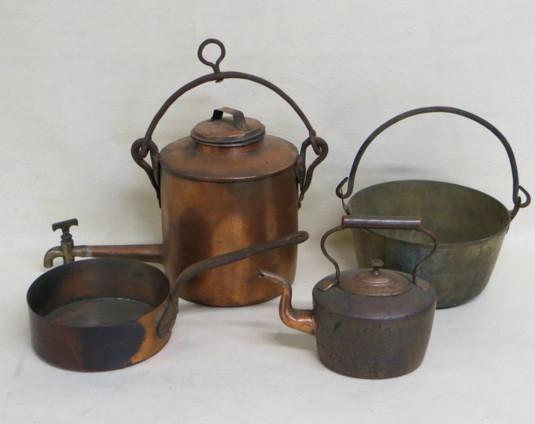 Collection of 4 country items including copper frying