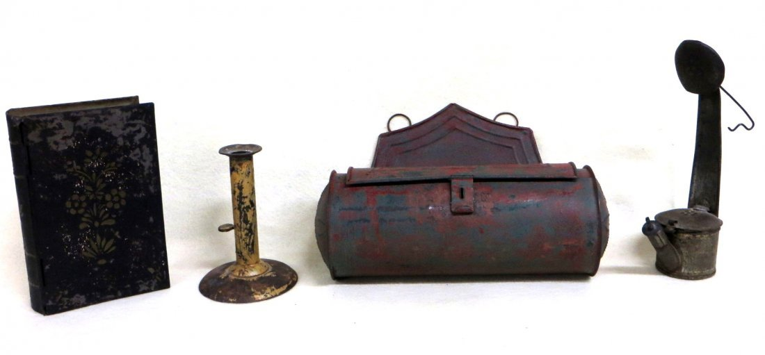 Four pieces of 19th century toleware including tin wall
