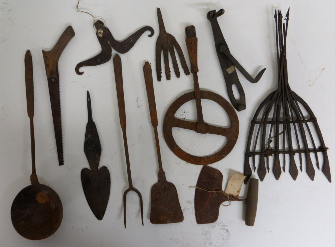 Collection of 10 mostly hand forged iron objects