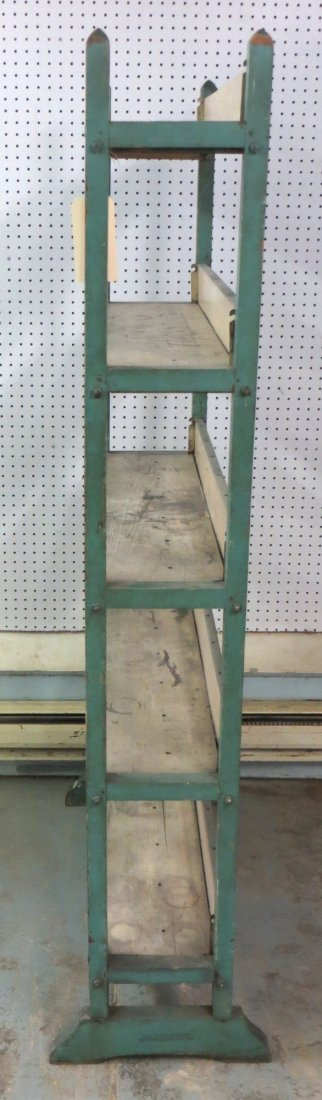 Baker's rack with 5 shelves in original green and white - 2