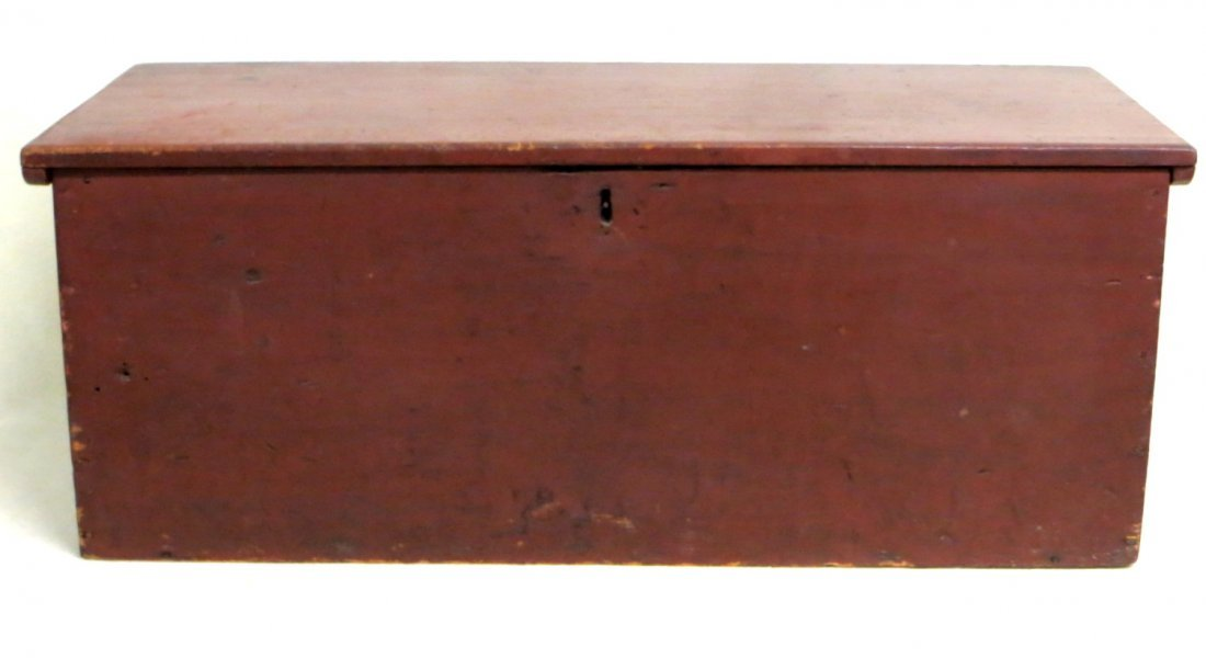 Small early blanket box in old red paint with interior