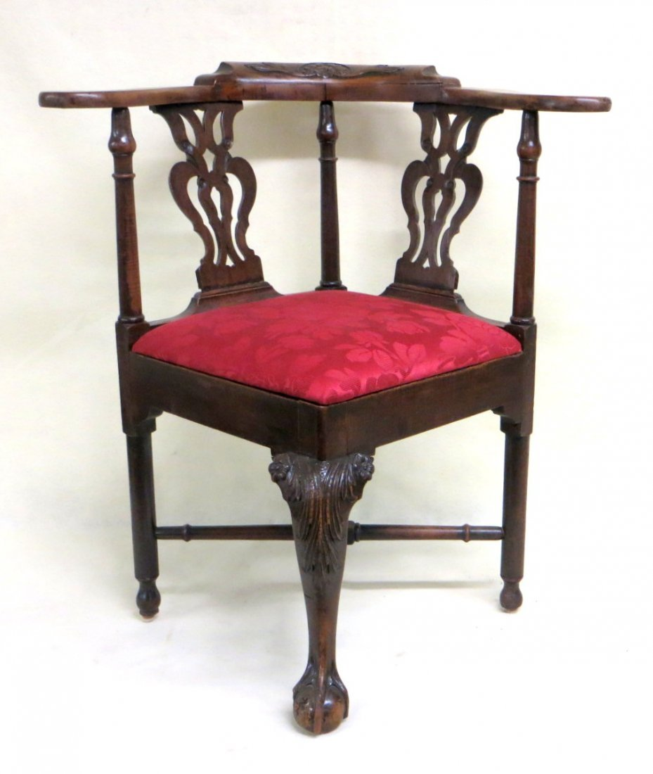 Chippendale maple claw and ball foot corner chair with