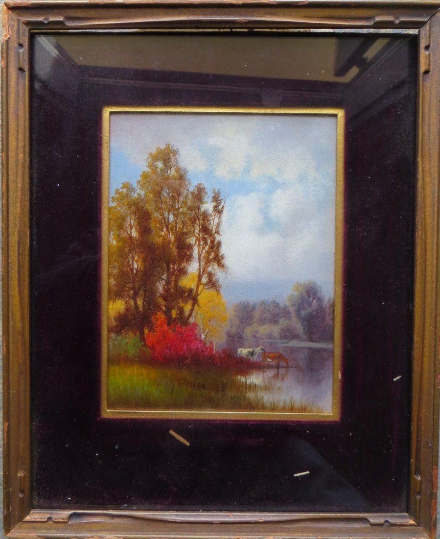 Charles T. Phelan (American b. 1840) O/C Cows in Pond.