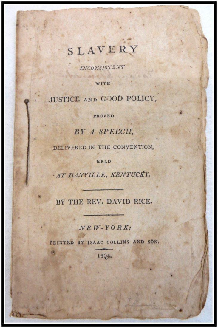 "Anti-slavery booklet dated 1804 entitled ""Slavery"